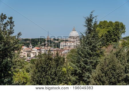 Rome Italy - August 20 2016: View of Rome from Giuseppe Garibaldi Square. Sunny day of summer