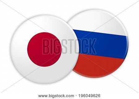 News Concept: Japan Flag Button On Russia Flag Button 3d illustration on white background