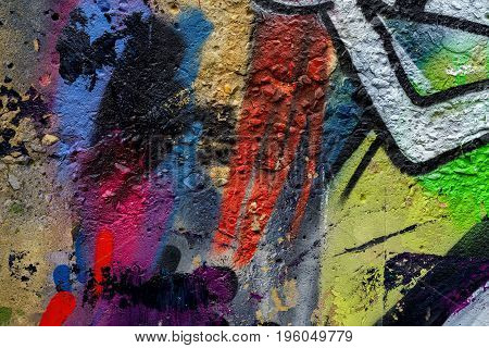 Abstract beautiful street art colorful graffiti style closeup. Detail of a wall. Can be useful for backgrounds, stylish pattern, fashion colors