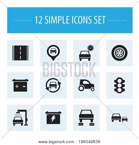 Set Of 12 Editable Car Icons. Includes Symbols Such As Battery, Race, Vehicle Wash And More