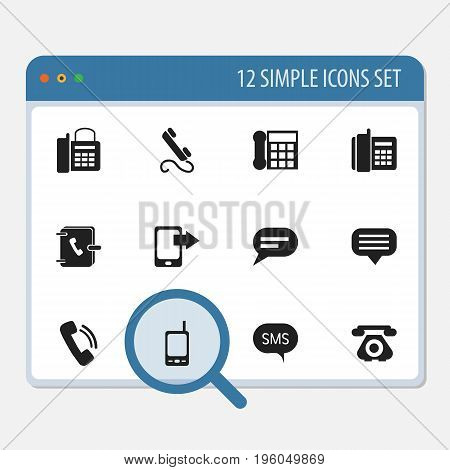Set Of 12 Editable Gadget Icons. Includes Symbols Such As Comment, Share Display, Message And More