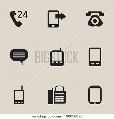 Set Of 9 Editable Phone Icons. Includes Symbols Such As Tablet, Telecommunication, Mobile And More