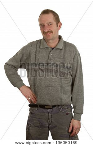 Casual man standing isolate white Background in Studio