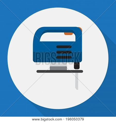 Vector Illustration Of Electric Symbol On Fretsaw Flat Icon