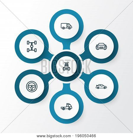 Car Outline Icons Set. Collection Of Washing, Caravan, Carcass And Other Elements
