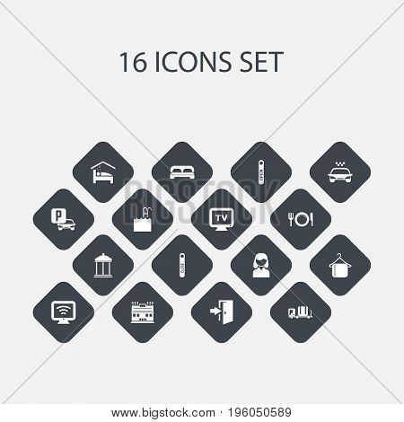 Set Of 16 Editable Motel Icons. Includes Symbols Such As Luggage, Monitor, Transport Car And More