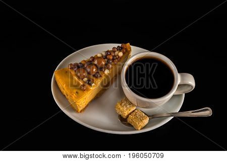 Aromatic Black Coffee In White Cup With Cheesecake On White Saucer, Brown Sugar, Teaspoon, Black Bac