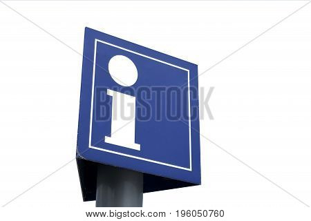 Blue Information sign isolated on white background.