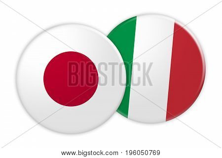 News Concept: Japan Flag Button On Italy Flag Button 3d illustration on white background