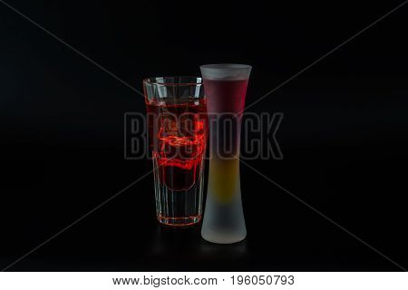 Colorful Drink In A Cocktail Glass, With Ice Cubes, Summer Drink