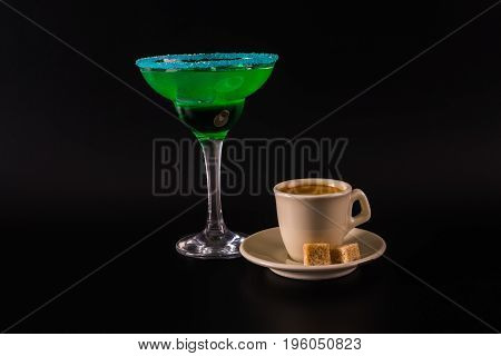 Black Coffee And Colorful Drink In A Cocktail Glass, With Ice Cubes, Summer Drink