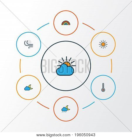 Weather Colorful Outline Icons Set. Collection Of Scale, Lunar, Twilight And Other Elements