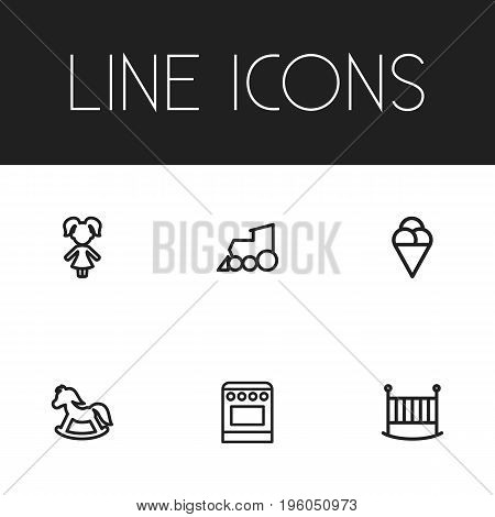 Set Of 6 Editable Relatives Outline Icons. Includes Symbols Such As Sorbet, Bedstead, Pony And More
