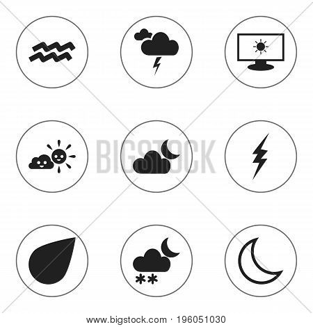 Set Of 9 Editable Air Icons. Includes Symbols Such As High Voltage, Monitor, Drip And More