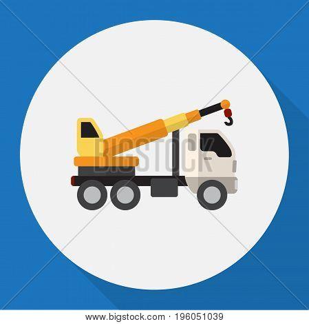 Vector Illustration Of Vehicle Symbol On Crane Flat Icon