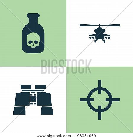 Army Icons Set. Collection Of Danger, Chopper, Target And Other Elements