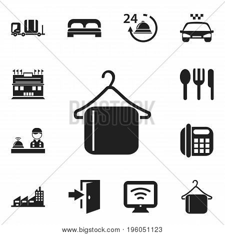 Set Of 12 Editable Travel Icons. Includes Symbols Such As Restaurant, Check In, Entry And More