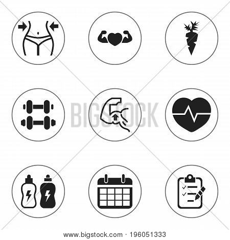 Set Of 9 Editable Fitness Icons. Includes Symbols Such As Questionnaire, Date Plan, Energetic Beverage And More