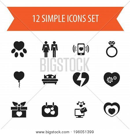 Set Of 12 Editable Love Icons. Includes Symbols Such As Gear, Valentine Balloons, Mattress And More