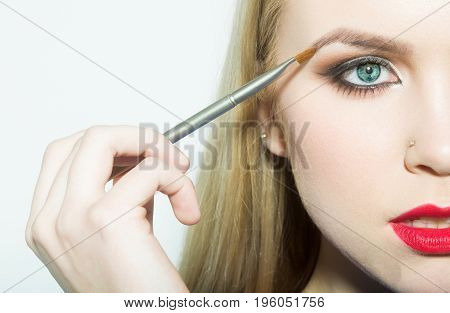 Girl Half Face Drawing Eyebrow With Makeup Brush