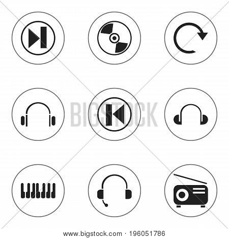 Set Of 9 Editable Music Icons. Includes Symbols Such As Earmuff, Refresh, Headsets And More