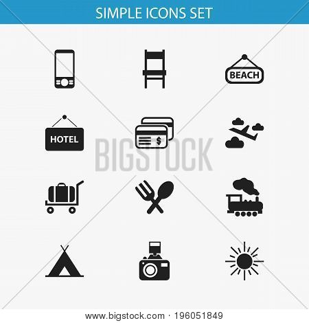 Set Of 12 Editable Trip Icons. Includes Symbols Such As Steam Engine, Stool, Snapshot And More