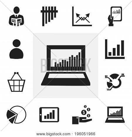 Set Of 12 Editable Statistic Icons. Includes Symbols Such As Bar Chart, Equalizer Display, Tablet Analysis And More