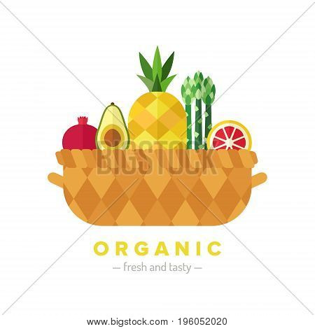 Fruit and vegetable basket flat style illustration (isolated). Organic food. Part two.