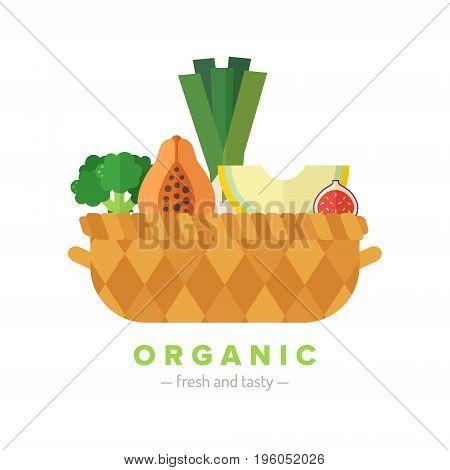 Fruit and vegetable basket flat style illustration (isolated). Organic food. Part three.
