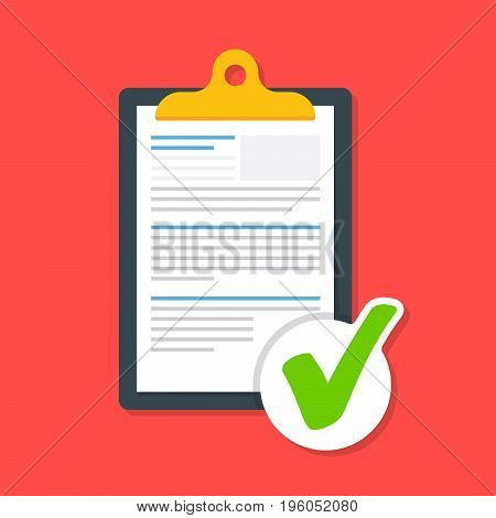 Business document on the clipboard with a tick. Icon of the approved document. The document is loaded successfully. Premium quality vector illustration in flat style isolated on red background
