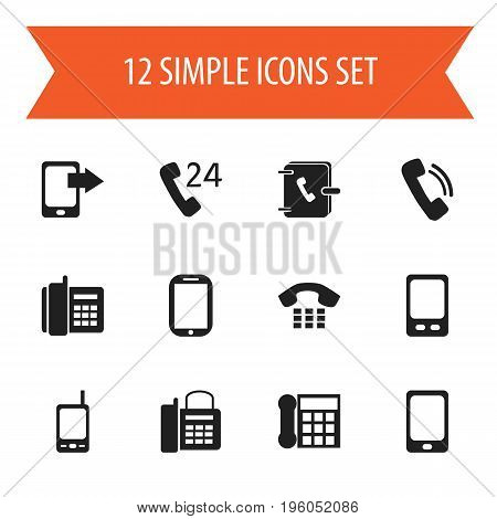 Set Of 12 Editable Gadget Icons. Includes Symbols Such As Radio Talkie, Smartphone, Office Telephone And More