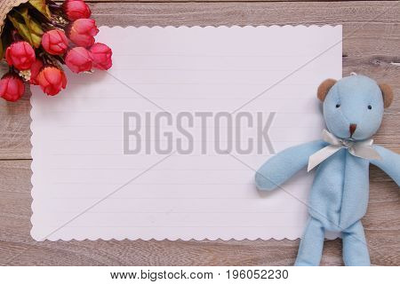 Stock Photography Flat Lay Template Wooden Plank Table White Letter Paper Blue Bear Doll Rose Flower