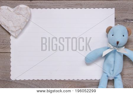 Stock Photography Flat Lay Template Wooden Plank Table White Letter Paper Blue Bear Doll Heart Craft