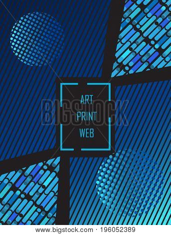 Pop Art abstract blue background. Modern art Design for  Exhibition catalog cover, business brochure, poster, banner, business card, envelope template. Vector Geometric dynamic shapes pattern.