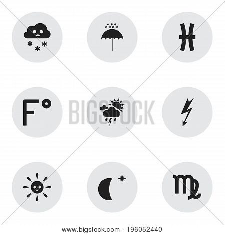 Set Of 9 Editable Weather Icons. Includes Symbols Such As Winter Parasol, Virgin, Cloudburst And More