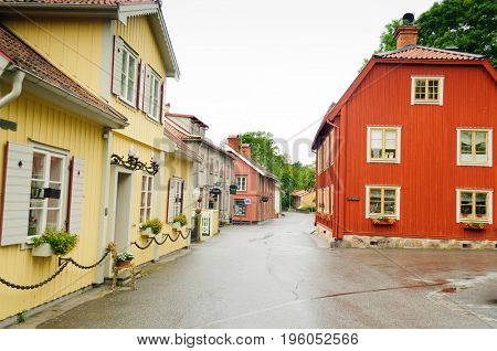 Sigtuna, Sweden-July 10, 2017:Early morning with empty streets of Sigtuna, Sweden