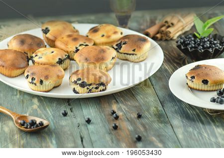 Blueberry Muffins With Fresh Berries.