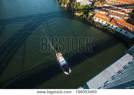 View of Douro river from Dom Luis I bridge, Porto, Portugal.