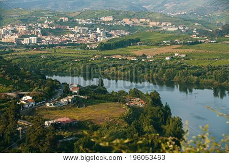 Douro Valley. Top view of river, and the vineyards are on a hills. Portugal.
