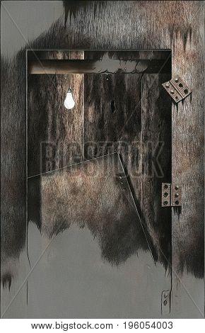 Surreal painting. Broken door, light bulb.   3d Rendering