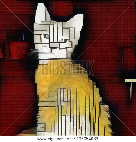 Abstract painting. Cat. Mondrian style.   3d Rendering