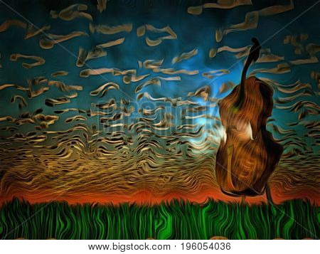 Surreal painting. Cello on sunset.   3d Rendering