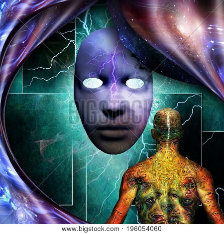 Surrealism. Mystic mask with lightnings. Man with weird demonic eyes on skin. Warped space.   3d Rendering  Some elements provided courtesy of NASA