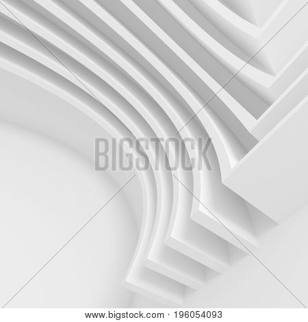 Circular Building Background. White Business Card Concept. 3D Rendering