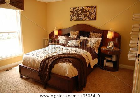 A beautifully decorated master bedroom
