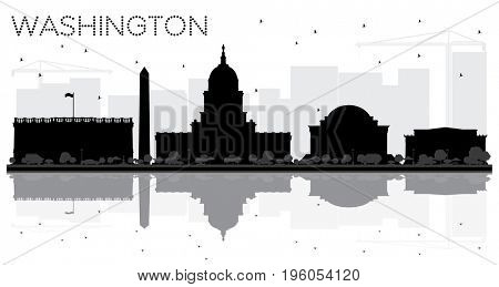 Washington DC City skyline black and white silhouette with reflections. Cityscape with landmarks