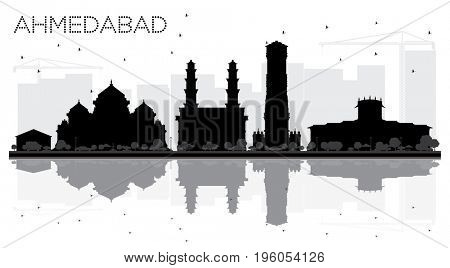Ahmedabad City skyline black and white silhouette with reflections. Cityscape with landmarks