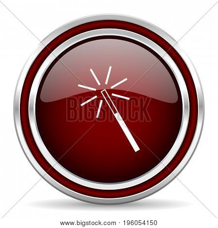 Magic wand red glossy icon. Chrome border round web button. Silver metallic pushbutton.