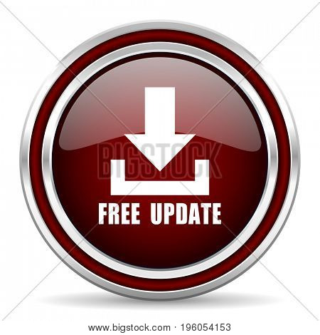 Free update red glossy icon. Chrome border round web button. Silver metallic pushbutton.