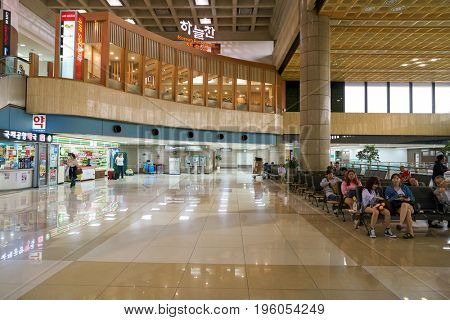 SEOUL, SOUTH KOREA - CIRCA MAY, 2017: inside Gimpo Airport International Terminal. Gimpo International Airport is located in the far western end of Seoul.